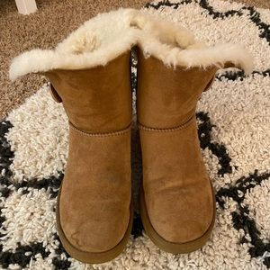 brown medium uggs with button